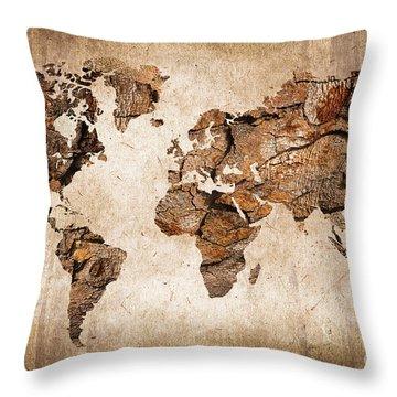 Wood World Map Throw Pillow