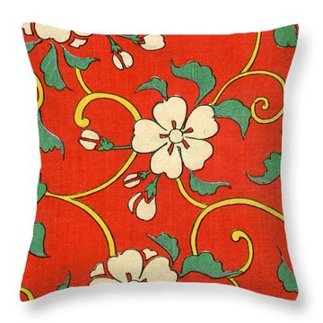 Woodblock Print Of Apple Blossoms Throw Pillow