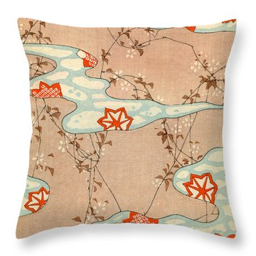 Woodblock Print Of Fall Leaves Throw Pillow