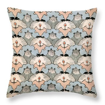 Woodblock Print Of Ibis And Bats Throw Pillow by Japanese School