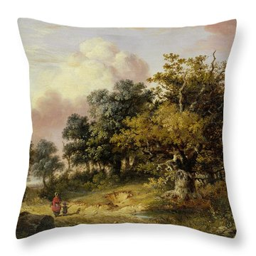 Wooded Landscape With Woman And Child Walking Down A Road  Throw Pillow by Robert Ladbrooke