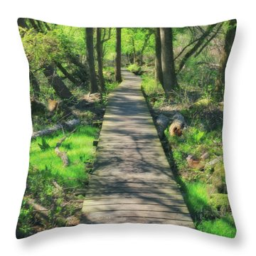Wooded Path - Spring At Retzer Nature Center Throw Pillow by Jennifer Rondinelli Reilly - Fine Art Photography