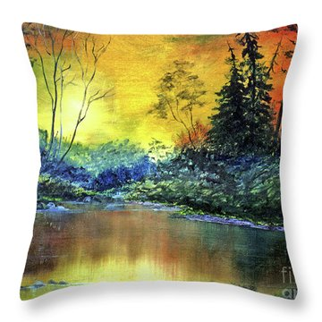 Wooded Serenity Throw Pillow by Dee Flouton