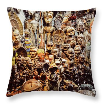 Wooden African Carvings Throw Pillow