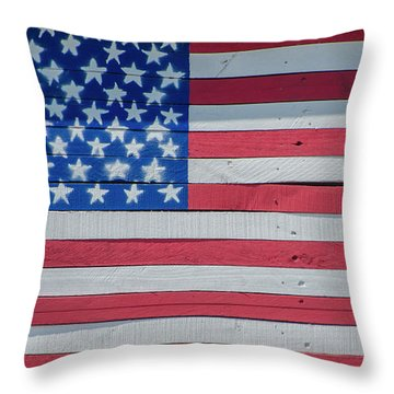 Throw Pillow featuring the photograph Wooden American Flag by Bill Cannon