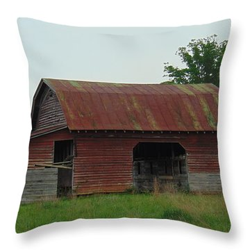 Wooden Barn Throw Pillow by Charlotte Gray