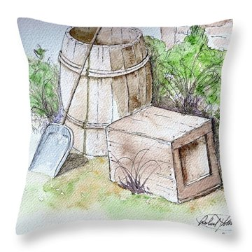 Wooden Barrel And Crate Throw Pillow