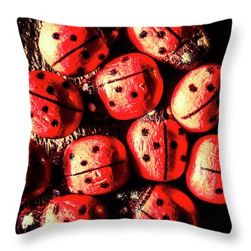 Wooden Beetle Bugs Throw Pillow