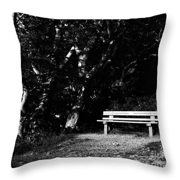 Wooden Bench In B/w Throw Pillow