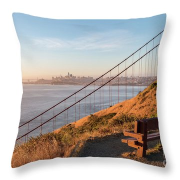 Wooden Bench Overlooking Downtown San Francisco With The Golden  Throw Pillow