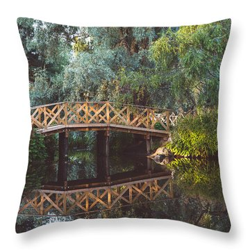 Throw Pillow featuring the photograph Wooden Bridge by Ari Salmela