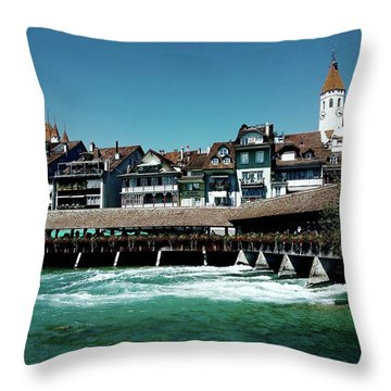 Wooden Bridge Throw Pillow by Mimulux patricia no No