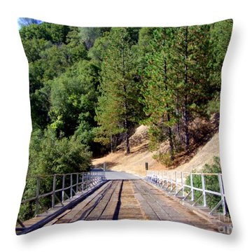 Wooden Bridge Over Deep Gorge Throw Pillow by Mary Deal