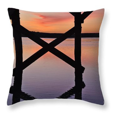 Wooden Bridge Silhouette At Dusk Throw Pillow
