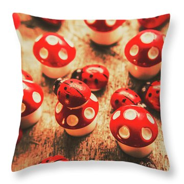 Wooden Bugs And Plastic Toadstools Throw Pillow