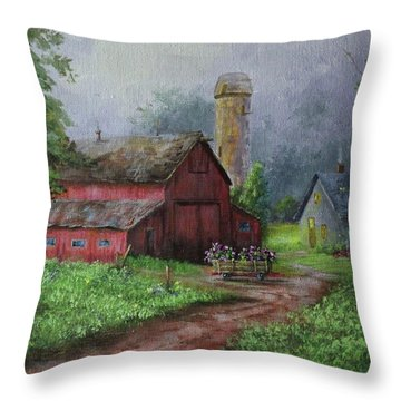 Wooden Cart Throw Pillow