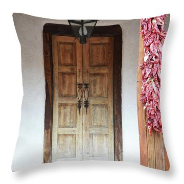 Throw Pillow featuring the photograph Wooden Chili Door by Andrea Hazel Ihlefeld