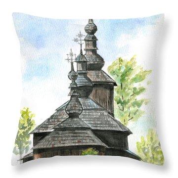 Wooden Church Throw Pillow by Jana Goode