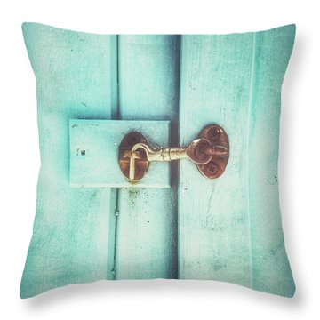 Wooden Door Latch Throw Pillow