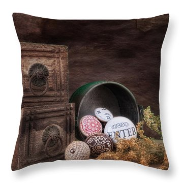 Wooden Drawers And Knobs Still Life Throw Pillow