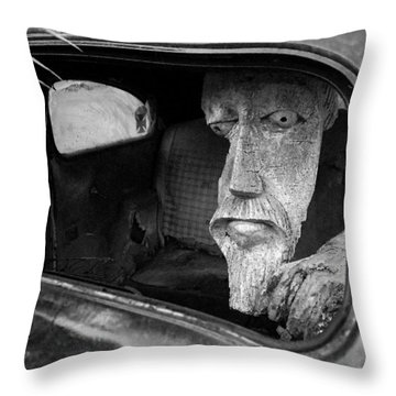 Throw Pillow featuring the photograph Wooden Head by Jim Mathis