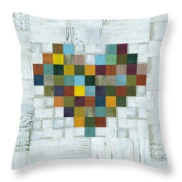 Wooden Heart 2.0 Throw Pillow by Michelle Calkins