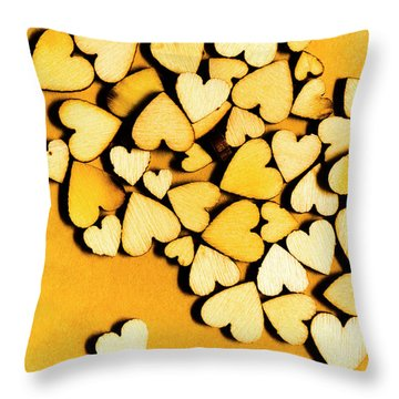 Wooden Hearts With Sentimental Single Throw Pillow