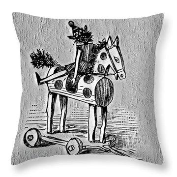 Throw Pillow featuring the digital art Wooden Horse by Pennie McCracken