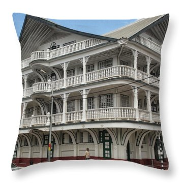 Wooden House In Colonial Style In Downtown Suriname Throw Pillow