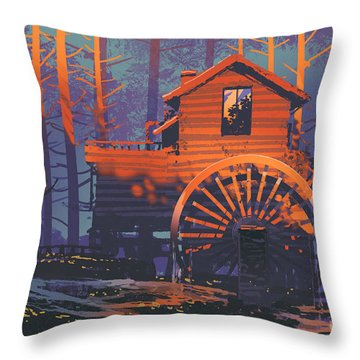 Wooden House Throw Pillow