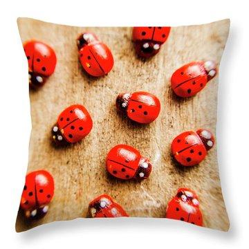Wooden Ladybugs Throw Pillow