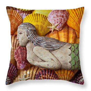 Wooden Mermaid Throw Pillow by Garry Gay