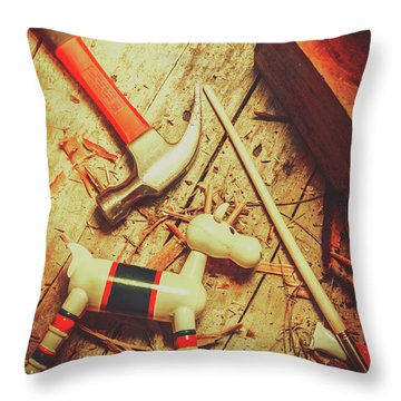 Wooden Model Toy Reindeer. Christmas Craft Throw Pillow
