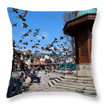 Wooden Ottoman Sebilj Water Fountain In Sarajevo Bascarsija Bosnia Throw Pillow