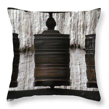 Wooden Prayer Wheels Throw Pillow by Sean White