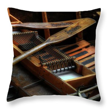 Wooden Rowboat And Oars Throw Pillow