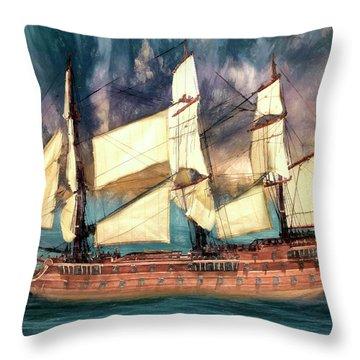 Wooden Ship Throw Pillow