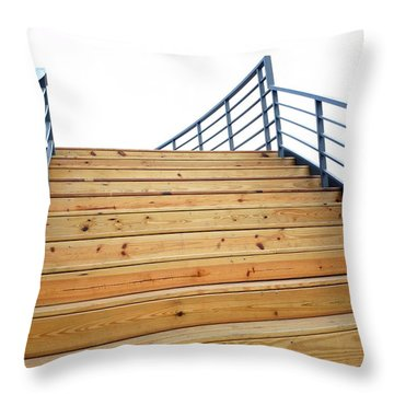 Wooden Staircase To The Sky Throw Pillow by Yali Shi