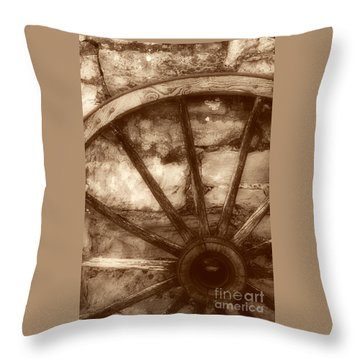 Wooden Wagon Wheel Throw Pillow