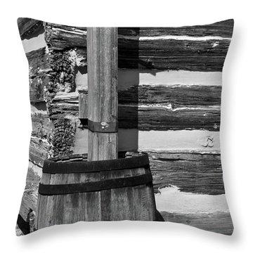 Wooden Water Barrel Throw Pillow by Douglas Barnett