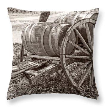 Wooden Wine Barrels On Cart Throw Pillow