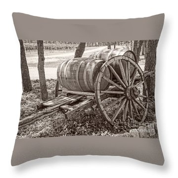 Wooden Wine Barrels On Cart Throw Pillow