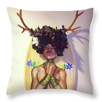Woodgoddess Throw Pillow by Baroquen Krafts