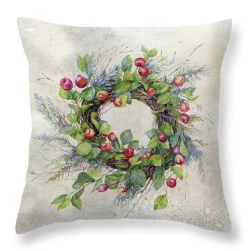 Throw Pillow featuring the digital art Woodland Berry Wreath by Colleen Taylor