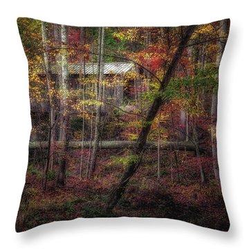 Woodland Bridge Throw Pillow