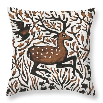 Woodland Deer Throw Pillow