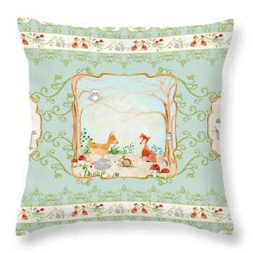 Woodland Fairy Tale - Aqua Blue Forest Gathering Of Woodland Animals Throw Pillow by Audrey Jeanne Roberts