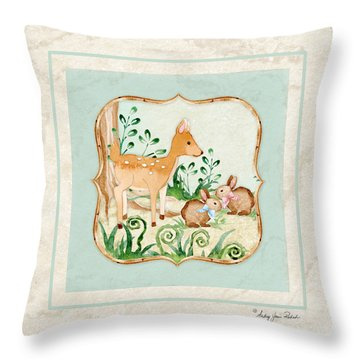 Woodland Fairy Tale - Deer Fawn Baby Bunny Rabbits In Forest Throw Pillow by Audrey Jeanne Roberts