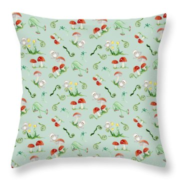 Woodland Fairy Tale - Red Mushrooms N Owls Throw Pillow