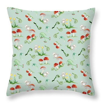 Woodland Fairy Tale - Red Mushrooms N Owls Throw Pillow by Audrey Jeanne Roberts